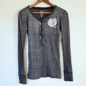 VS Pink shimmery grey long sleeve Henley tee